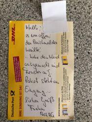 Paketzettel der Deutschen Post
